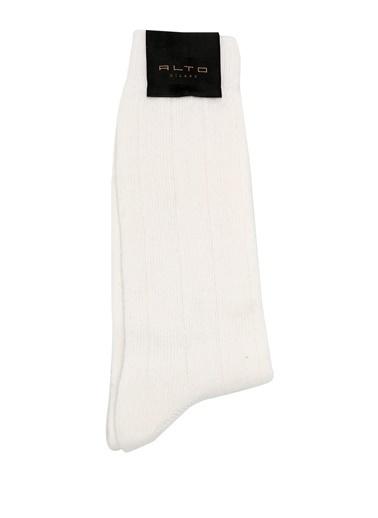Alto Socks Alto Socks  Çizgi Dokulu Erkek Yün Çorap 101560322 Beyaz